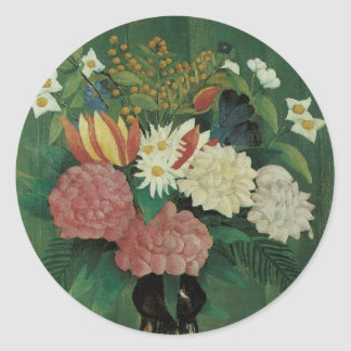 Flowers with Ivy by Henri Rousseau, Vintage Floral Classic Round Sticker