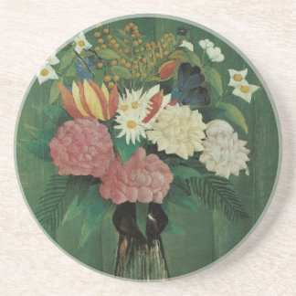 Flowers with Ivy by Henri Rousseau, Vintage Floral Drink Coaster