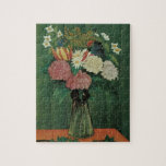 """Flowers with Ivy by Henri Rousseau, Vintage Floral Jigsaw Puzzle<br><div class=""""desc"""">Bouquet of Flowers with an Ivy Branch (1909) by Henri Rousseau is a vintage post impressionism fine art still life floral painting. The floral arrangement is on a table decorated with ivy branches. A spring season bouquet of blooming white and pink garden flowers in a vase. About the artist: Henri...</div>"""