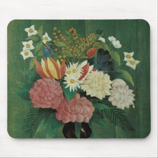 Flowers with Ivy by Henri Rousseau, Vintage Floral Mouse Pad