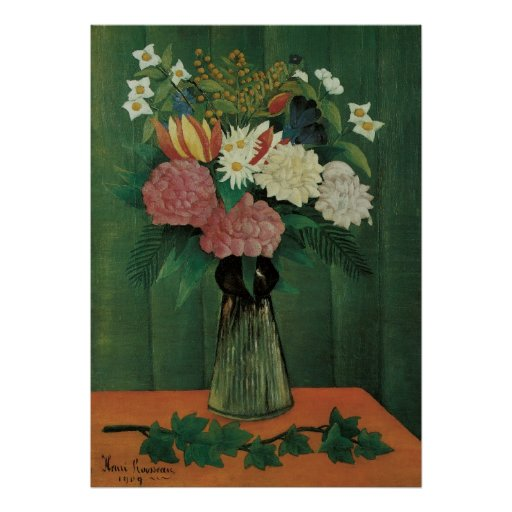 Flowers with Ivy by Henri Rousseau, Vintage Floral Posters