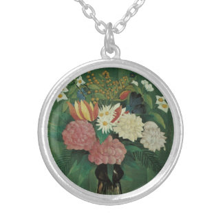 Flowers with Ivy by Henri Rousseau, Vintage Floral Silver Plated Necklace