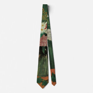 Flowers with Ivy by Henri Rousseau, Vintage Floral Tie