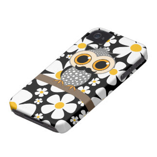 flowers with mustache owl iPhone 4 Case-Mate case