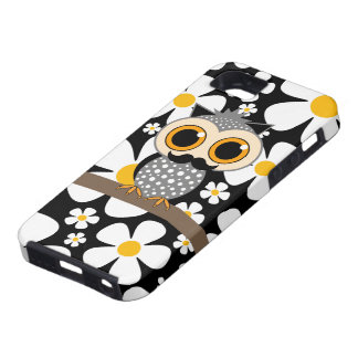 flowers with mustache owl iPhone SE/5/5s case