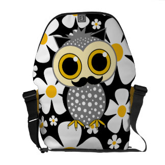 flowers with mustache owl messenger bag