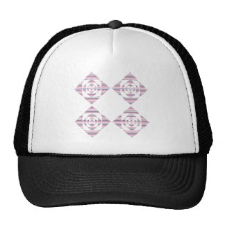 Flowers with Pastel Stripes. Pink, White. Mesh Hat