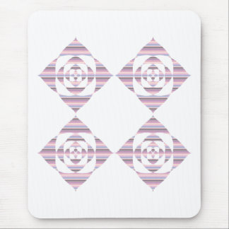 Flowers with Pastel Stripes. Pink, White. Mouse Pad