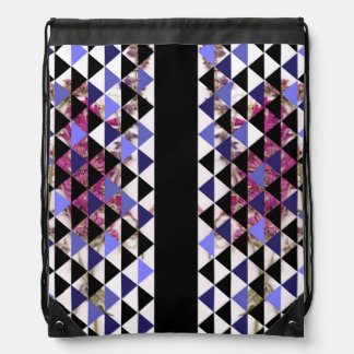 Flowers with Periwinkle Triangles Backpack by KCS