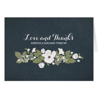 Flowers wreath cute vintage wedding thank you card