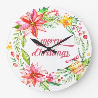 Flowers Wreath Modern Typography Merry Christmas