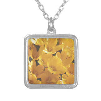 Flowers yellow 15 square pendant necklace