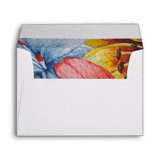 flowers yellow lily red blue floral art design envelope