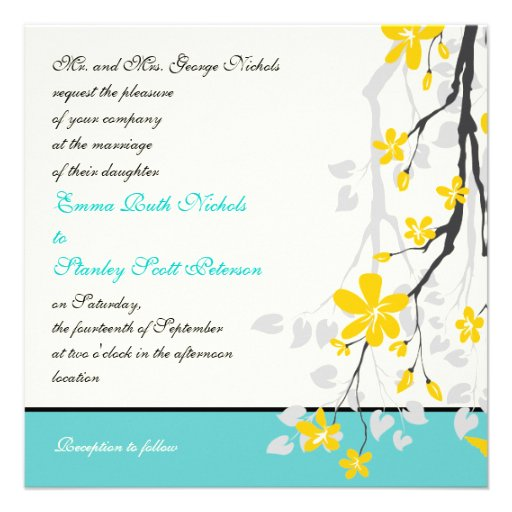 Flowers Yellow Turquoise Wedding Invitation 525 Square Invitation Card