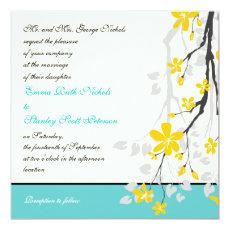 Flowers yellow turquoise wedding invitation 5.25