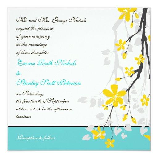 "Flowers yellow turquoise wedding invitation 5.25"" square invitation card"