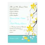 "Flowers yellow turquoise wedding invitation 5"" x 7"" invitation card"