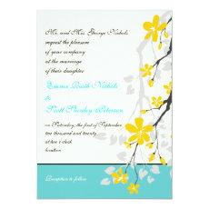 Flowers yellow turquoise wedding invitation 5