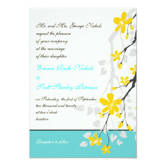 Flowers yellow turquoise wedding invitation cards