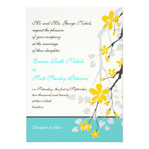 Flowers yellow turquoise wedding invitation cards