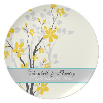 Flowers yellow turquoise wedding keepsake plate by weddings