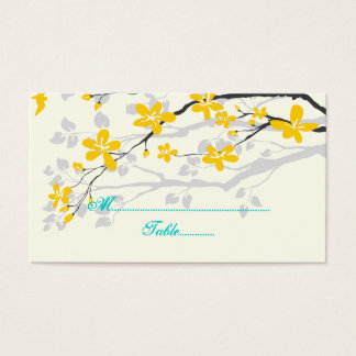 Flowers yellow turquoise wedding place card