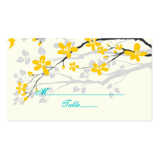 Flowers yellow turquoise wedding place card business card