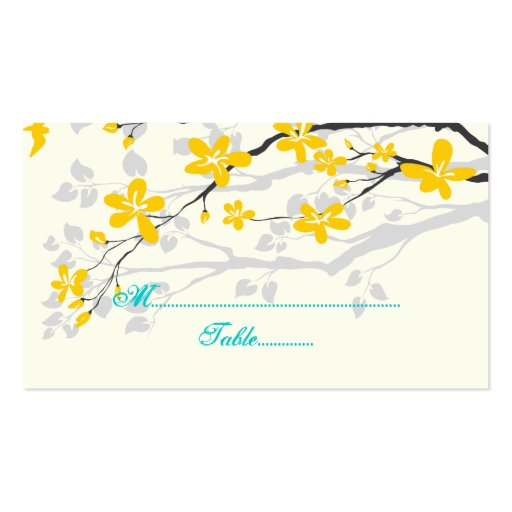Flowers yellow turquoise wedding place card Double-Sided standard business cards (Pack of 100)