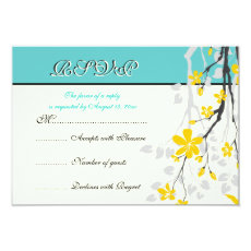 Flowers yellow turquoise wedding RSVP card 3.5