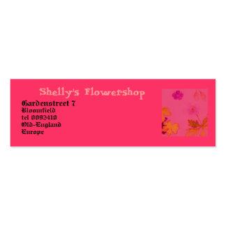 Flowershop. exfoliado tarjetas de visita mini
