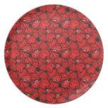 Flowersplate rojo oriental fresco platos para fiestas