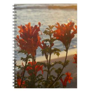 Flowery Beach Sunset Notebook