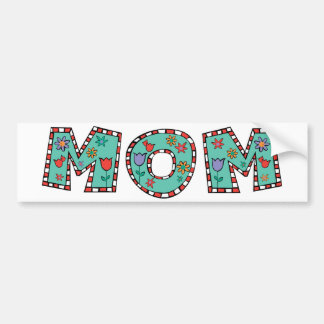 Flowery Blue Mom Bumper Sticker