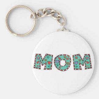 Flowery Blue Mom Keychain