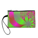 Flowery Bright Pink and Green Change Purse