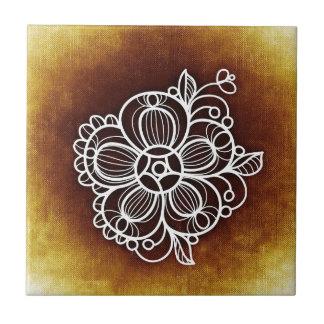 Flowery Brown Tile