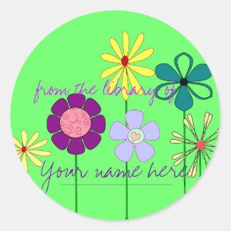 Flowery Ex Libris Bookplate Round Stickers