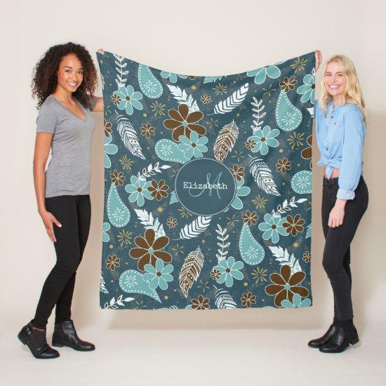 flowery feathery teal turquoise brown boho fleece blanket