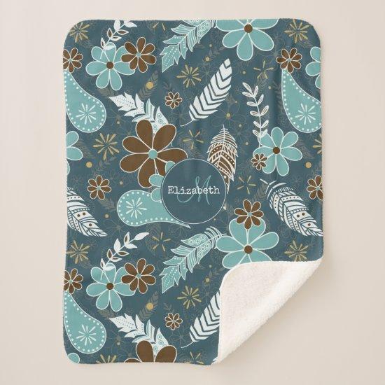 flowery feathery teal turquoise brown boho sherpa blanket