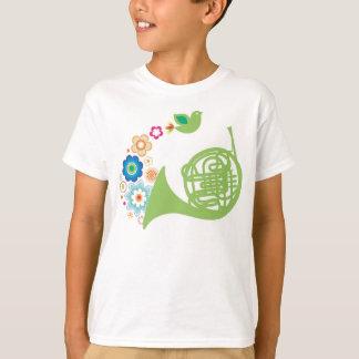 Flowery French Horn Kids Music Tee Shirt Gift
