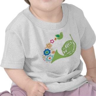 Flowery French Horn Kids T-Shirt Music Gift