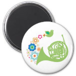 Flowery French Horn Music Gift 2 Inch Round Magnet