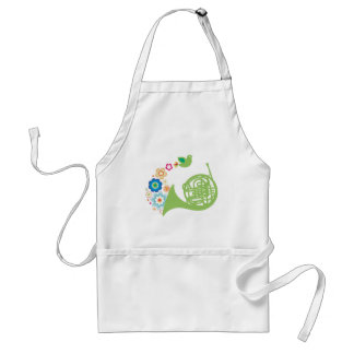 Flowery French Horn Music Gift Adult Apron