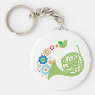 Flowery French Horn Music Gift Basic Round Button Keychain