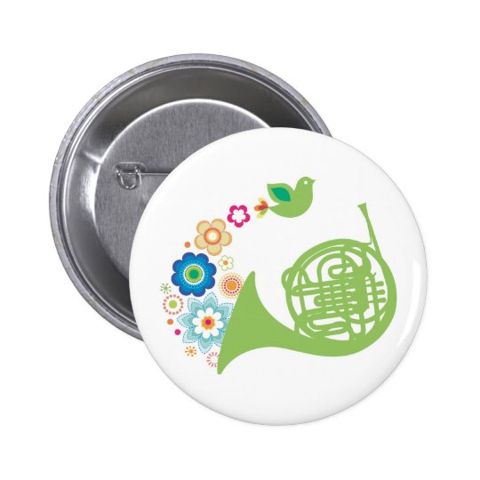 Flowery French Horn Music Gift Button