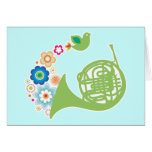 Flowery French Horn Music Gift Greeting Card