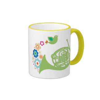 Flowery French Horn Music Gift Ringer Coffee Mug