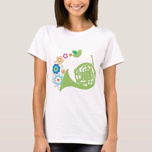 Flowery French Horn Music Gift T_Shirt