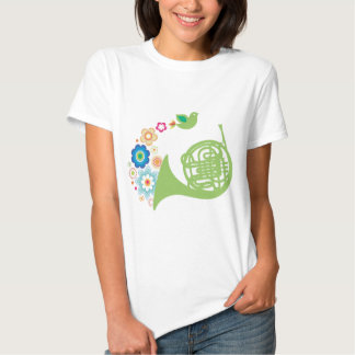 Flowery French Horn Music Gift Tees
