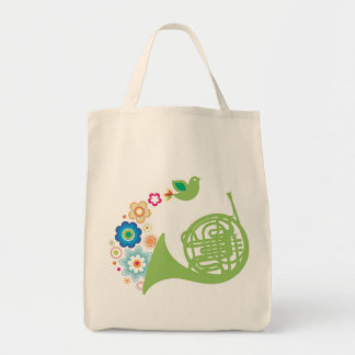 Flowery French Horn Music Totebag Gift Grocery Tote Bag